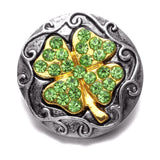 Gold Green Lucky Clover Charms 18mm Snap Button