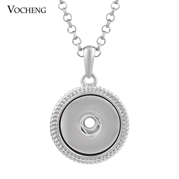 Medallion Snap Button Pendant Necklace Stainless Steel Chain