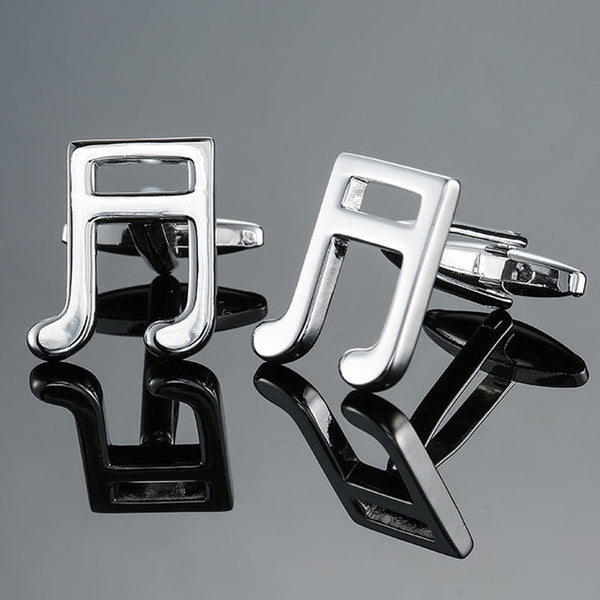 Silver music notes French shirt Cufflinks