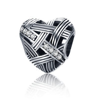 Basket Weave Pandora Compatible 925 Sterling Silver Heart Shape Charm