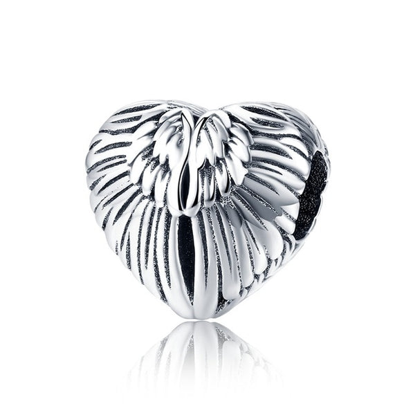 Angel Wings Protect In Memory Pandora Compatible 925 Sterling Silver Heart Shape Charm
