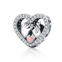 Marriage Wedding Linked Hands Pandora Compatible.925 Sterling Silver Heart Shape Charm
