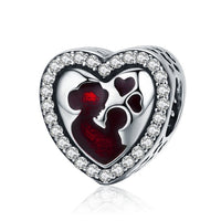 Mother Baby Mom Pandora Compatible 925 Sterling Silver Heart Shape Charm