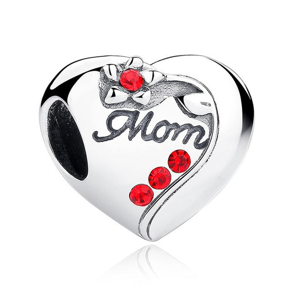 Mom Mother Pandora Compatible 925 Sterling Silver Heart Shape Charm
