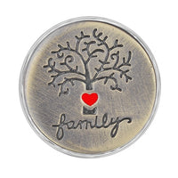 Antique Bronze Snap Charm Family Tree 18mm