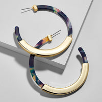 Vintage Gold tipped Acrylic Hoop Earrings