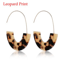 Vintage Leopard Print Circle Hoops Acrylic