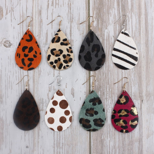 Animal Print Genuine Leather Drop Earrings