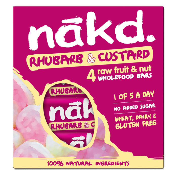 Nakd Bar Rhubarb & Custard (4x35g bars) - Case of 12 packs Multisave (Naked)
