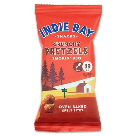 Indie Bay Snacks Smokin' BBQ Crunchy Pretzel Bites 26g - Case of 14 Multisave (Best Before Date: 01/12/2020)