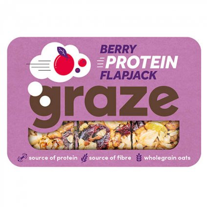 Graze Berry Protein Flapjack 53g - Case of 9 packs Multisave