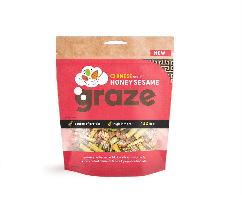 Graze Chinese Style Honey Sesame Nuts 107g - Case of 6 packs Multisave