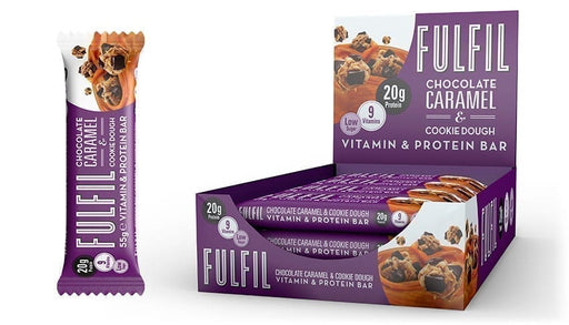 Fulfil Chocolate Caramel & Cookie Dough Protein Vitamin Bar 55g - Case of 15 bars Multisave (Best Before Date: 05/09/2020)