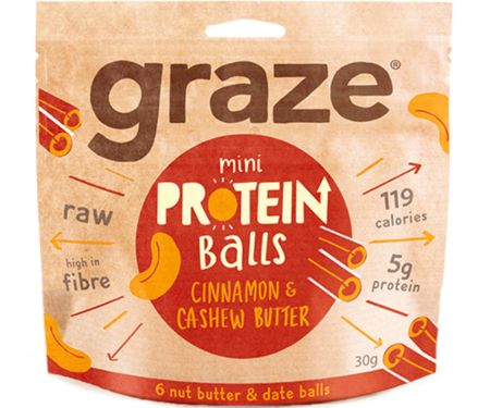 Graze Cinnamon Cashew Butter Protein Balls 30g - Case of 8 packs Multisave
