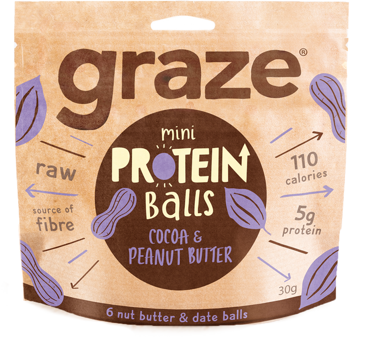Graze Cocoa Peanut Butter Protein Balls 30g - Case of 8 packs Multisave (Best Before Date: 25/05/2019)