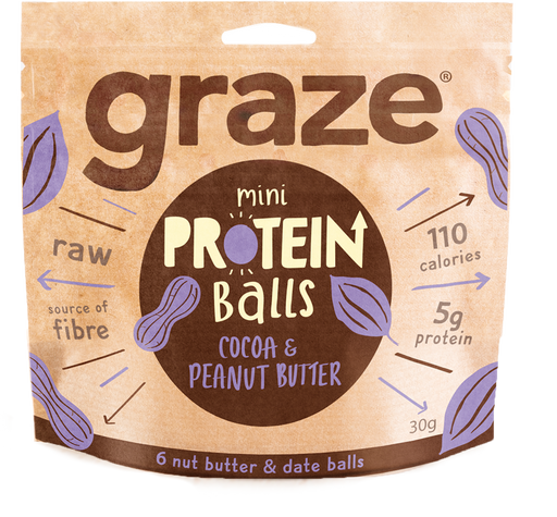 Graze Cocoa Peanut Butter Protein Balls 30g - Case of 8 packs Multisave