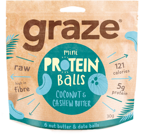 Graze Coconut Cashew Butter Protein Balls 30g - Case of 8 packs Multisave (Best Before Date: 25/05/2019)