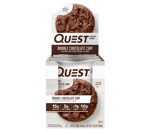 Quest Double Chocolate Chip Flavour Protein Cookie 59g - Case of 12 Multisave (Best Before Date: 13/12/2019)