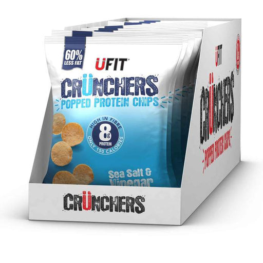 UFIT Crunchers High Protein Popped Chips, Sea Salt & Vinegar 35g - Case of 11 Multisave