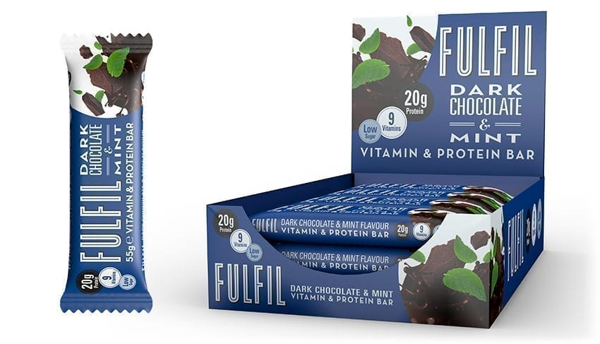 Fulfil Dark Chocolate & Mint Vitamin and Protein bar 55g - Case of 15 bars Multisave