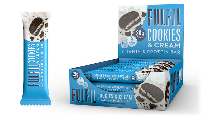 Fulfil Cookies & Cream Protein and Vitamin Bar 55g - Case of 15 Multisave