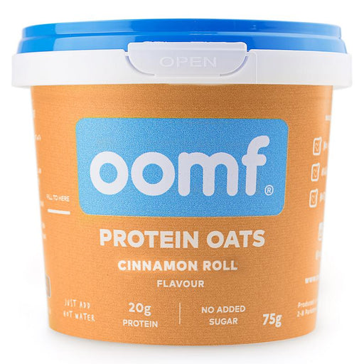 Oomf Cinnamon Roll Flavour Protein Oats 75g - Case of 8 pots Multisave