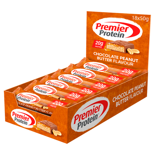 Premier Protein Chocolate Peanut Butter flavour Protein bar 50g - Case of 18 Multisave