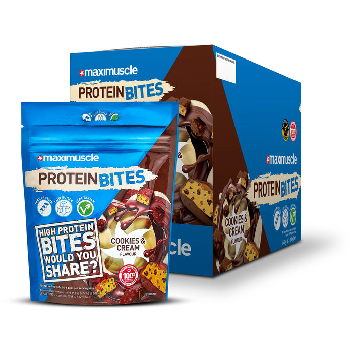 Maximuscle Cookies & Cream Flavour Protein Bites 110g - Case of 6 packs Multisave (Best Before Date: 28/02/2021)