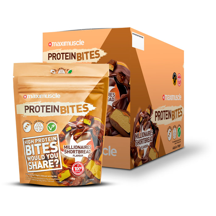 Maximuscle Millionaire Shortbread flavour Protein Bites 110g - Case of 6 packs Multisave