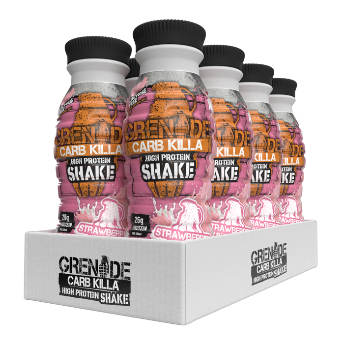 Grenade Strawberries & Cream Flavour Carb Killa Protein Shake 330ml - Case of 8 Multisave (Best Before Date: 19/08/2020)
