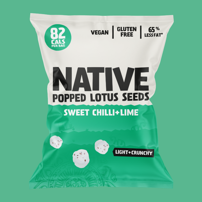 Native Sweet Chilli and Lime Popped Lotus Seed Snacks 20g - Case of 9 Multisave (Best Before Date: 15/10/2020)