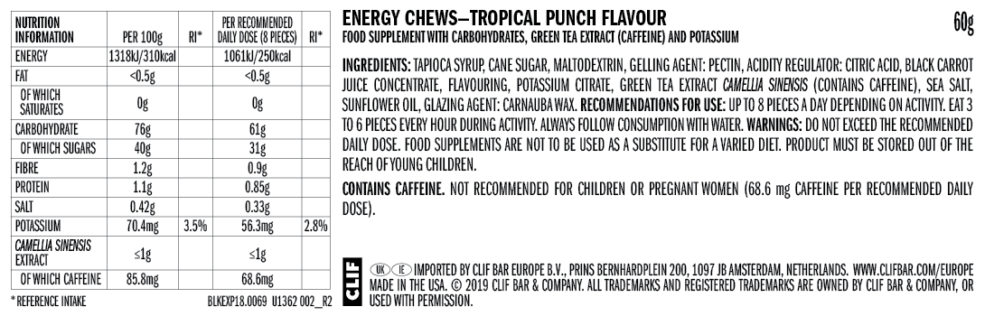 Clif Bloks Tropical Punch Energy Chews 60g