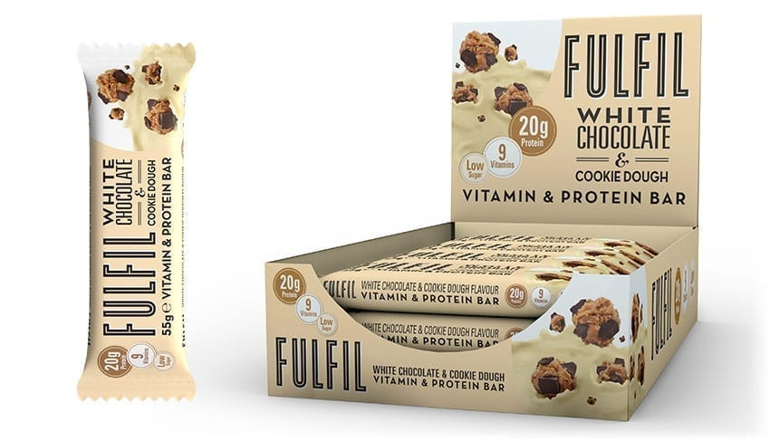 Fulfil White Chocolate & Cookie Dough Protein Vitamin Bar 55g - Case of 15 bars Multisave (Best Before Date: 05/07/2019)