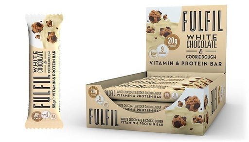 Fulfil White Chocolate & Cookie Dough Protein Vitamin Bar 55g - Case of 15 bars Multisave