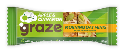 Graze Apple & Cinnamon Morning Oat Minis 30g - Case of 12 Multisave (Best Before Date: 11/06/2019)