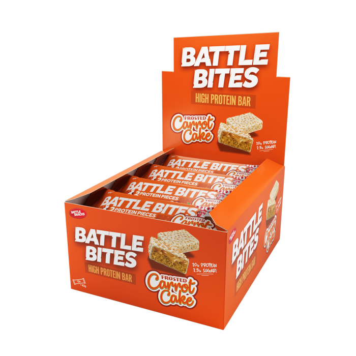 Battle Bites High Protein Frosted Carrot Cake Bar 62g - Case of 12 Multisave