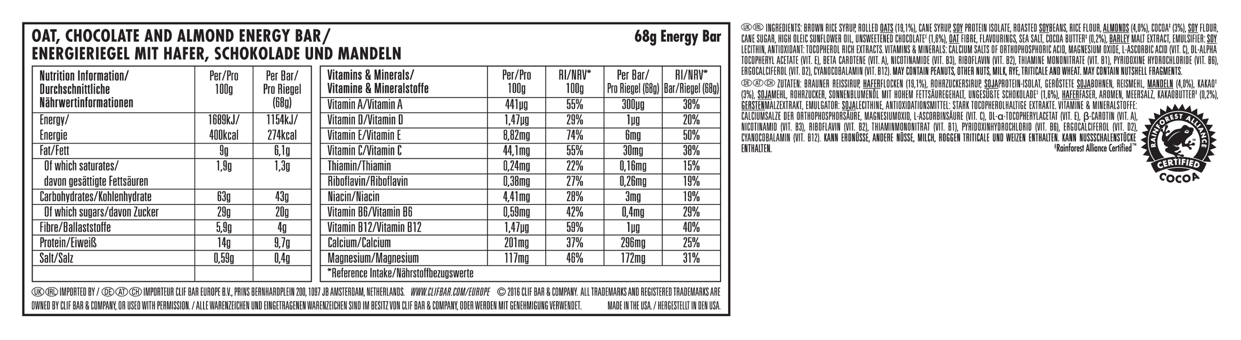 Clif Chocolate Almond Fudge flavour Energy bar 68g - Case of 12 Multisave (Best Before Date: 12/02/2021)