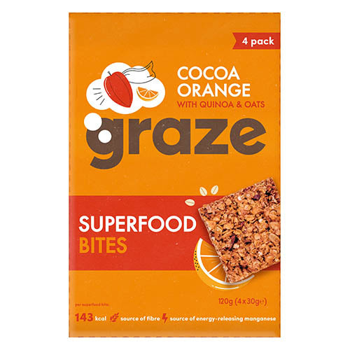Graze Cocoa Orange Superfood Bites with Quinoa & Oats (4 x 30g pack)