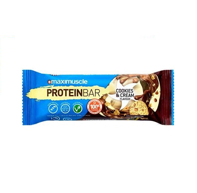MaxiMuscle Cookies & Cream Flavour Protein Bar 55g