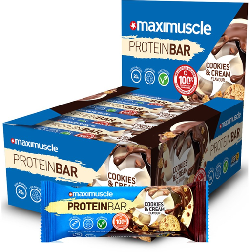 MaxiMuscle Cookies & Cream Flavour Protein Bar 55g - Case of 12 Multisave