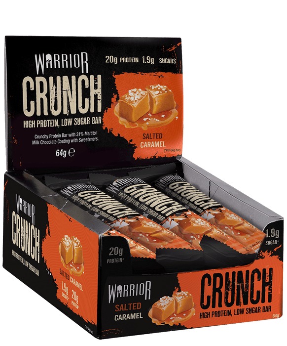 Warrior Crunch Salted Caramel flavour Protein Bar 64g - Case of 12 Multisave