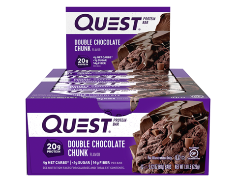 Quest Double Chocolate Chunk Protein Bar 60g - Case of 12 bars Multisave