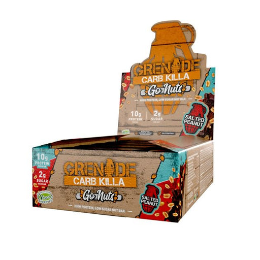 Grenade Carb Killa Go Nuts Salted Peanut High Protein Nut Bar 40g - Case of 15 bars Multisave