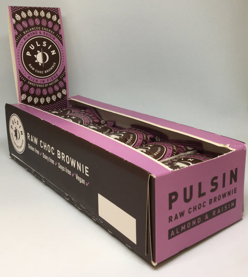 Pulsin Almond & Raisin Raw Choc Brownie 50g - Case of 18 bars Multisave