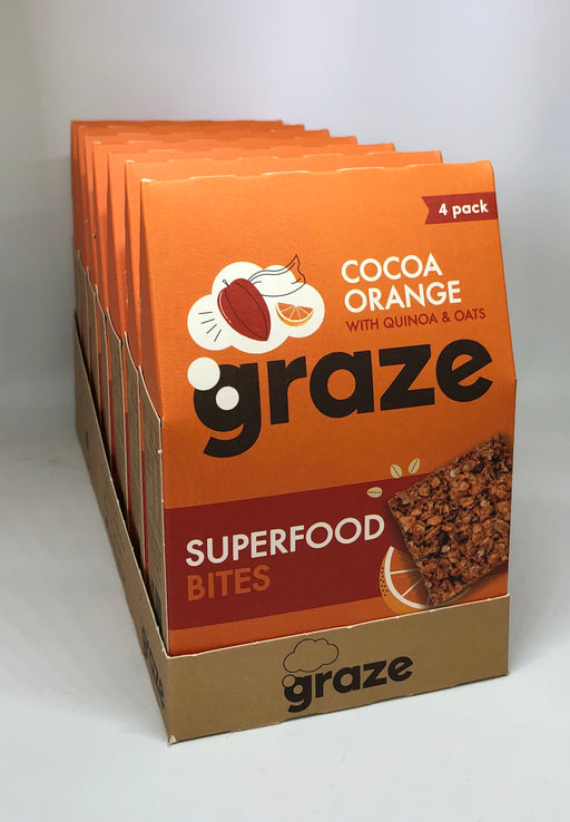 Graze Cocoa Orange Superfood Bites with Quinoa & Oats (4 x 30g pack) - Case of 7 (Multisave)