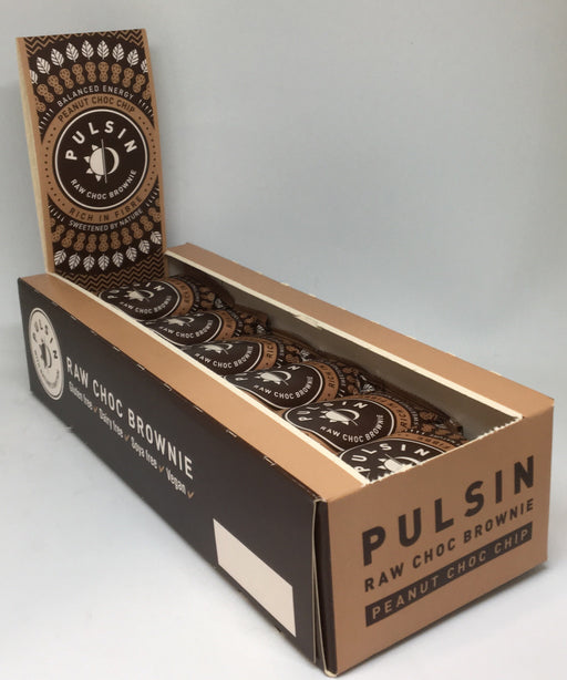 Pulsin Peanut Choc Chip Raw Choc Brownies 50g - Case of 18 bars Multisave