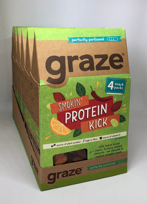 Graze Smokin' Protein Kick (4 x 32g snack packs) - Case of 6 Multisave