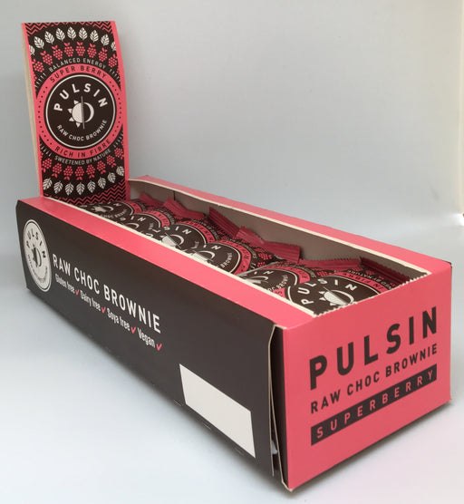 Pulsin Super Berry Raw Choc Brownie 50g - Case of 18 bars Multisave
