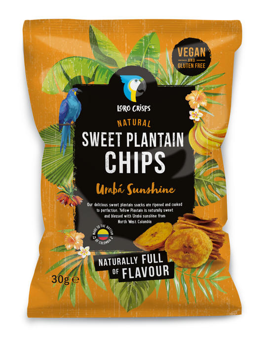 Loro Crisps Natural Sweet Plantain Chips, Uraba Sunshine 30g