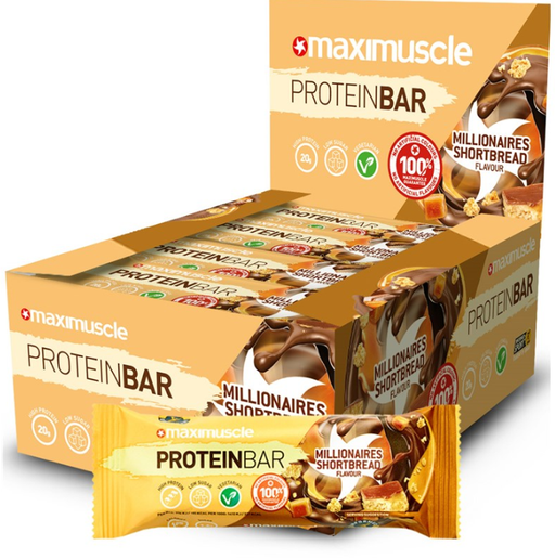 MaxiMuscle Millionaires Shortbread flavour Protein Bar 55g - Case of 12 Multisave